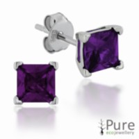 Amethyst CZ Square Prong Set Stud Earrings in Sterling Silver - 5mm