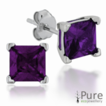 Amethyst CZ Square Prong Set Stud Earrings in Sterling Silver - 6mm