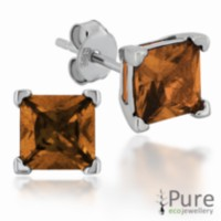 Champagne CZ Square Prong Set Stud Earrings in Sterling Silver - 6mm