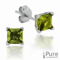Peridot CZ Square Prong Set Stud Earrings in Sterling Silver - 4mm