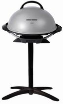 George Foreman Indoor and Outdoor Electric Grill with Stand and Thermostat, Grey