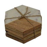hometrends Wood and Marbel Coaster Set