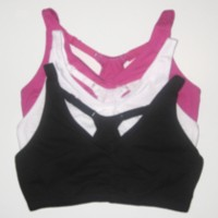 Fruit of the Loom, Adjustable Back Rouched Front Sports Bra Hot Pink 38