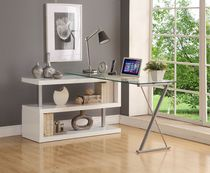 ACME Buck Desk with Swivel in White High Gloss & Clear Glass