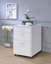 ACME Coleen File Cabinet in White High Gloss & Chrome