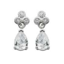 Sterling Silver Cubic Zirconia Pear Drop Earring