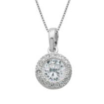 Sterling Silver Cubic Zirconia Round Halo Pendant