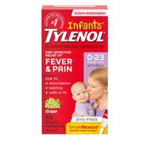 Tylenol Infants' Medicine, Relief of fever & pain, 0-23 Months, Dye-Free Grape Suspension liquid, Acetaminophen 80mg/1mL, 15mL