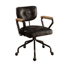 ACME Hallie Executive Office Chair in Vintage Black Top Grain Leather