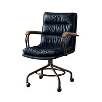 ACME Harith Executive Office Chair in Vintage Blue Top Grain Leather