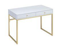 ACME Coleen Desk in White & Brass