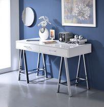 ACME Coleen Desk in White High Gloss & Chrome