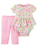 Child of Mine made by Carter's Infant Girls Body Suit Pant Set-Floral 18 months