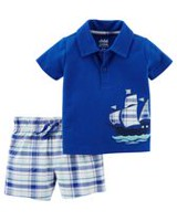 Child of Mine made by Carter's Baby Boys' 2 Piece Boat Printed Outfit Set 24M