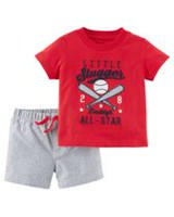 Child of Mine made by Carter's Baby Boys' 2 Piece Baseball Printed Outfit Set 18 months