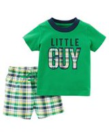 Child of Mine made by Carter's Baby Boys' 2 Piece Little Guy Printed Outfit Set 18 months