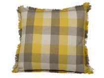 Ivory Park Gold & Tan Buffalo Checks Decorative Throw Cushion