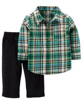Child of Mine made by Carter's Newborn Boys' Plaid Pant & Shirt Set 0-3