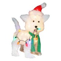 Holiday time Fluffy Dog Sculpture