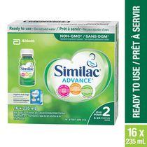 Similac Advance Étape2, préparation pour nourrissons sans OGM, prête à servir, 16 x 235mL, 6 à 24 mois