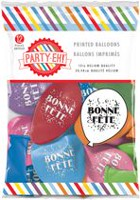 "PARTY-EH! 12"" Helium Quality ""Bonne Fête"" Printed Latex Balloons"