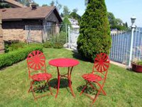 Henryka 3-Piece Bistro Set - Red Sun Ray Design