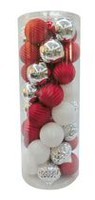 Holiday Time Shatterproof Ornaments, Red, White & Silver