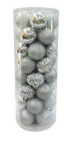 Holiday Time Shatterproof Ornaments, Silver