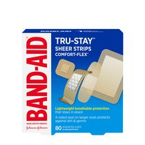 BAND-AID® Brand TRU-STAY™ Sheer Strips COMFORT-FLEX® Adhesive Bandages, Assorted Sizes, 80 Count