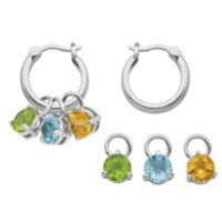 Sterling Silver Hoop Earrings with Interchangeable Gemstones