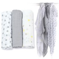 Lulujo Mini Muslin Cotton Receiving Cloths - Calming Grey