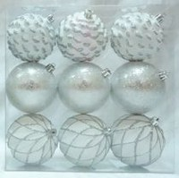 Holiday time White/Silver Shatterproof Ornaments