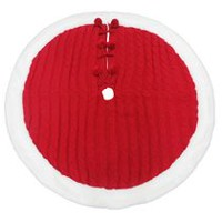 Holiday time Red Knitting Tree Skirt with White Plush Trim