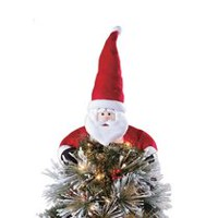 holiday time whitered fabric santa tree hugger topper - Christmas Tree Accessories