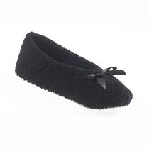 ISOspa by isotoner Women's Textured Ballerina Slippers Black Extra Large