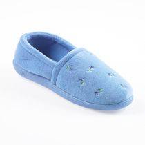 ISOspa by isotoner Women's Embroidered Espadrille Slippers Blue Small
