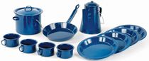 World Famous 13 Piece Blue Enamel Campware Set