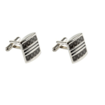 Stainless Steel Cufflinks with Carbon Fibre
