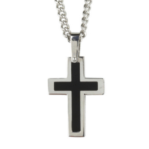 Mens Stainless Steel Black Cross and Chain