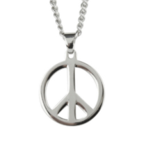 "Stainless Steel Peace Sign with 20"" Chain"