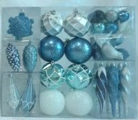 Holiday time Light Blue/Silver Shatterproof Ornaments