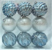 Holiday time Middle Blue/Silver Shatterproof Ornaments