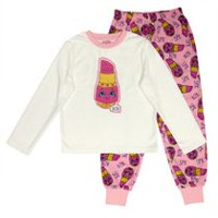 Lipstick- Shopkins Girls' Micropolar Pajamas 2 Piece Set XS