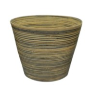 Listo12-inch Natural Elegance Bamboo Black Planter
