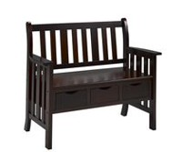 Solid Wood Hallway Bench, Espresso