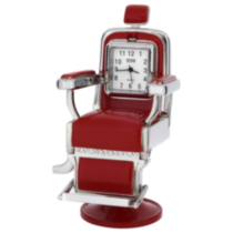 Barber / Salon Chair Collectible Desktop Mini Clock Red