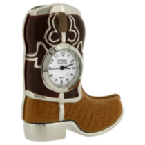Western Cowboy Boot Collectible Desktop Mini Clock Brown