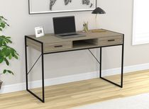 "Safdie & Co. Writing Desk/Computer Table/Gaming Office Desk-48""L/Grey Wood/Black Metal"