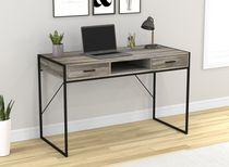 "Safdie & Co. Writing Desk/Computer Table/Gaming Office Desk-48""L/Distressed Wood/Black Metal"