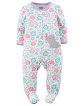 Child of Mine made by Carter's Newborn Girls' Elephant Printed Sleep & Play Outfit 0-3